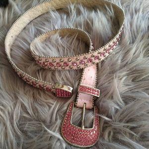 Christine Alexander genuine leather crystal belt